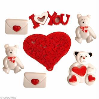 Bouton décoratif à coller - Amour - Ours valentin x 6