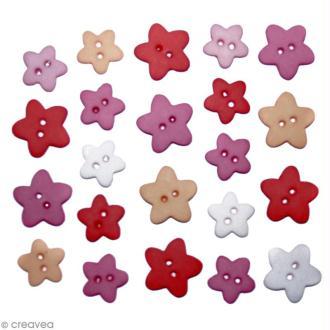 Bouton décoratif - Etoiles - Pluie d'étoiles x 22