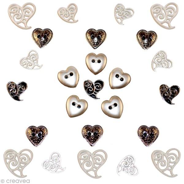 Bouton décoratif - Amour - Union parfaite x 25 - Photo n°1