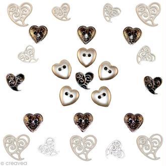 Bouton décoratif - Amour - Union parfaite x 25
