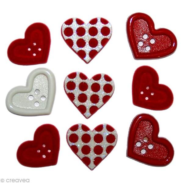 Bouton décoratif - Amour - Coeurs et pois rouges x 9 - Photo n°1