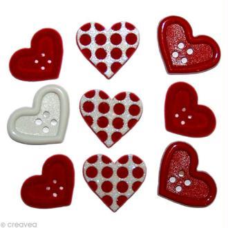 Bouton décoratif - Amour - Coeurs et pois rouges x 9