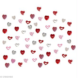 Bouton décoratif - Amour - Variation de coeurs x 10 gr
