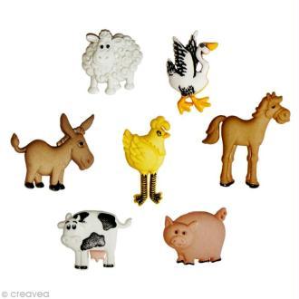 Bouton décoratif - Animaux - Animaux de la ferme x 7