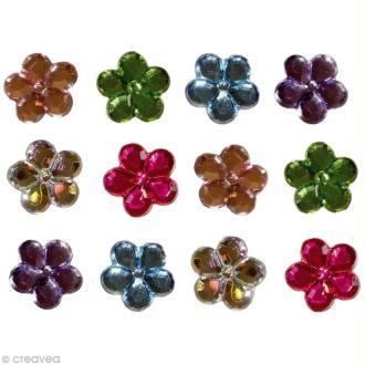 Strass décoratif - Brillants multicolores 1,5 cm x 12