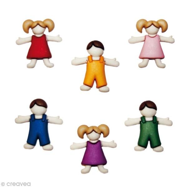 Bouton décoratif - Enfant - Ribambelles d'enfants x 6 - Photo n°1