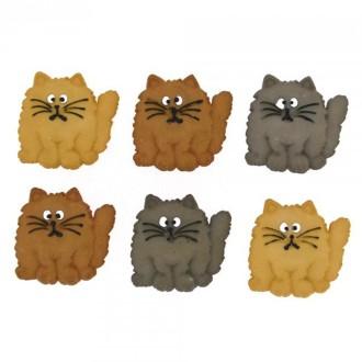 Bouton décoratif - Animaux - Chats mignons x 8