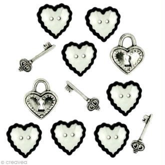 Bouton décoratif - Amour - Coeurs et clés x 12