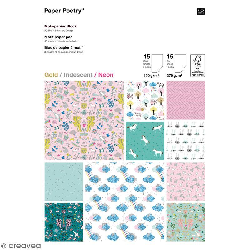 Bloc papier scrap A4 à motif - Gold, Iridescent & Néon - Wonderland - 30 feuilles - Photo n°1