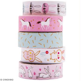 Set de masking tape - Wonderland lièvres - 1,5 cm x 10 m - 5 pcs
