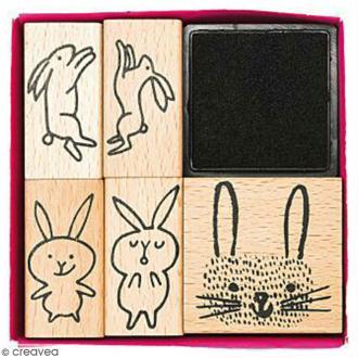 Set tampons Wonderland - Lièvres - 5 tampons et 1 encreur