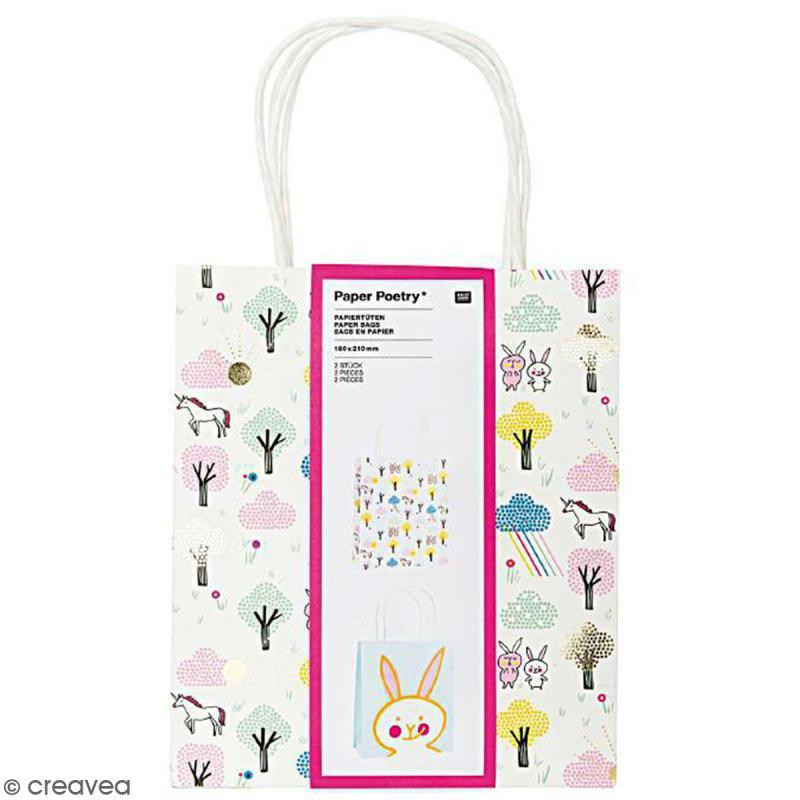Lot de sacs en papier - Wonderland lapin - 18 x 21 cm - 2 pcs - Photo n°1
