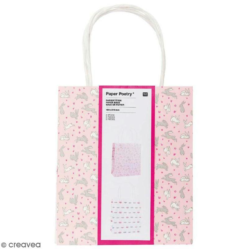 Lot de sacs en papier - Wonderland lièvres - 18 x 21 cm - 2 pcs - Photo n°1