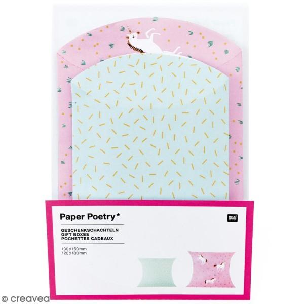 Lot de pochettes cadeaux - Wonderland licorne - 2 tailles - 6 pcs - Photo n°1