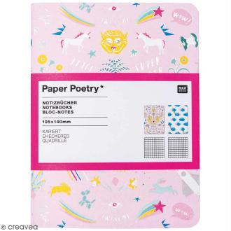 Petits carnets de notes A6 - Wonderland Nuages et fusées - 10,5 x 14 cm - 2 pcs