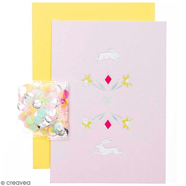Kit carte anniversaire à personnaliser - Rico Design Wonderland - Lièvres - 12,5 x 17,5 cm - Photo n°1