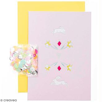 Kit carte anniversaire à personnaliser - Rico Design Wonderland - Lièvres - 12,5 x 17,5 cm