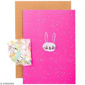 Kit carte anniversaire à personnaliser - Rico Design Wonderland - Tête de lièvre - 12,5 x 17,5 cm