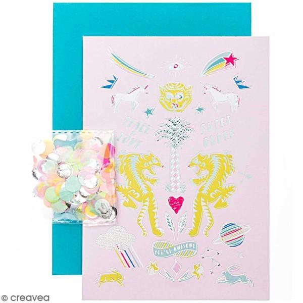 Kit carte anniversaire à personnaliser - Rico Design Wonderland - Tigre - 12,5 x 17,5 cm - Photo n°1