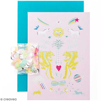 Kit carte anniversaire à personnaliser - Rico Design Wonderland - Tigre - 12,5 x 17,5 cm
