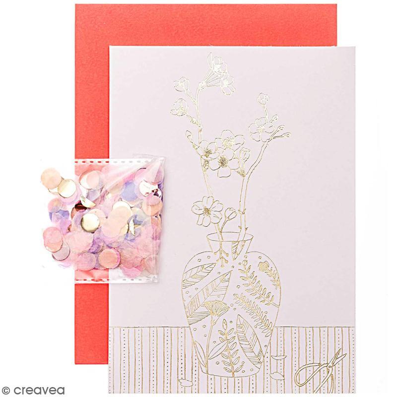 Kit carte anniversaire à personnaliser - Rico Design Hygge - Fleurs de cerisier - 12,5 x 17,5 cm - Photo n°1