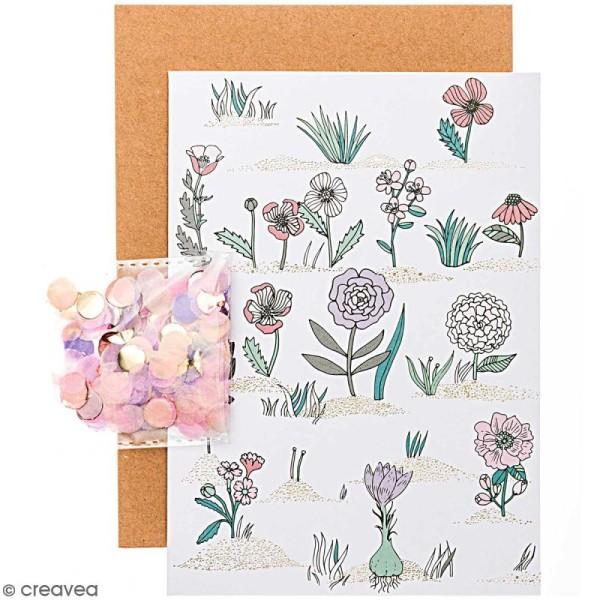 Kit carte anniversaire à personnaliser - Rico Design Hygge - Fleurs - 12,5 x 17,5 cm - Photo n°1