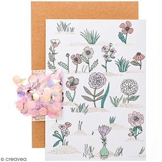 Kit carte anniversaire à personnaliser - Rico Design Hygge - Fleurs - 12,5 x 17,5 cm