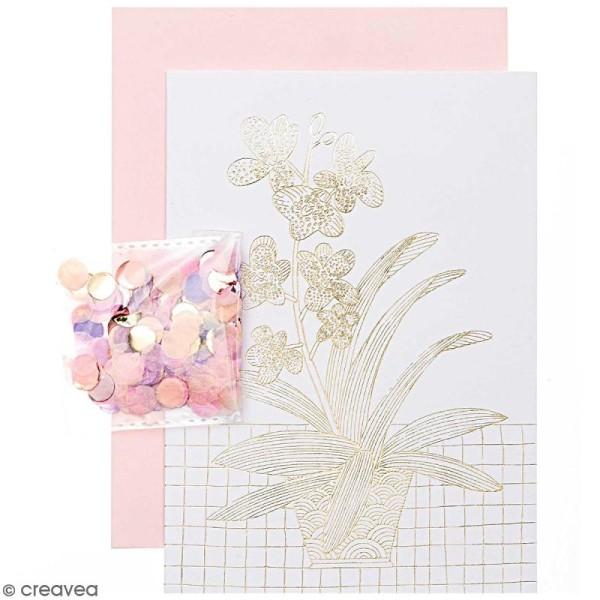Kit carte anniversaire à personnaliser - Rico Design Hygge - Orchidée - 12,5 x 17,5 cm - Photo n°1