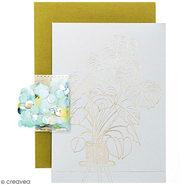 Kit carte anniversaire à personnaliser - Rico Design Hygge - Monstera - 12,5 x 17,5 cm - Photo n°1