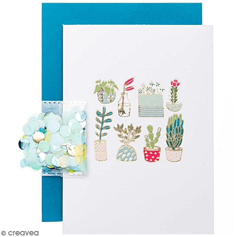 Kit carte anniversaire à personnaliser - Rico Design Hygge - Cactus et succulents - 12,5 x 17,5 cm - Photo n°1