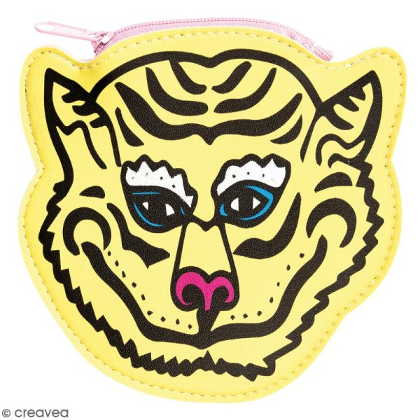 Porte monnaie fantaisie - Rico Design Wonderland - Tigre Jaune - 12 x 12 cm - Photo n°1