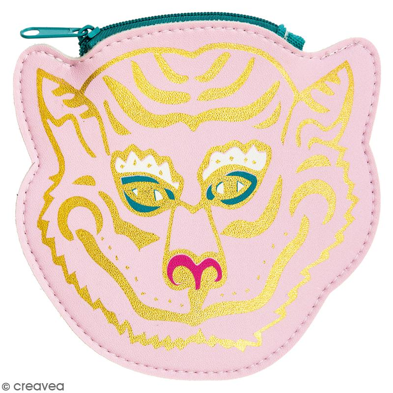 Porte monnaie fantaisie - Rico Design Wonderland - Tigre Rose - 12 x 12 cm - Photo n°1