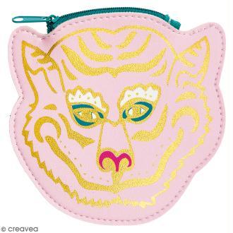 Porte monnaie fantaisie - Rico Design Wonderland - Tigre Rose - 12 x 12 cm
