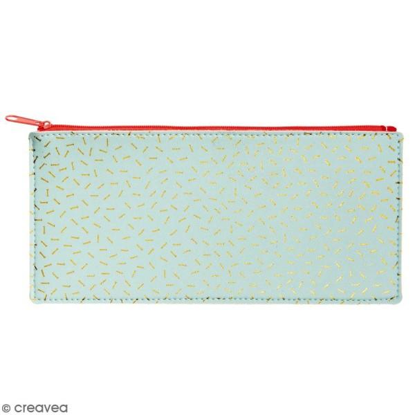 Trousse fantaisie Rico Design - Menthe et confettis dorés - 21 x 10,5 cm - Photo n°1