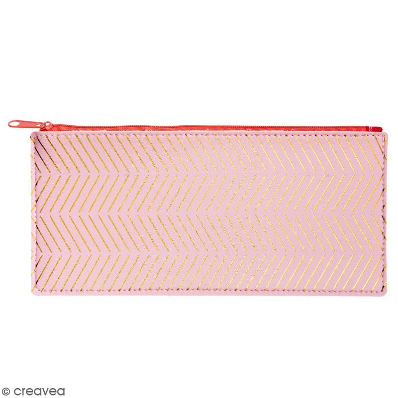 Trousse fantaisie Rico Design - Rose et chevrons dorés - 21 x 10,5 cm - Photo n°1
