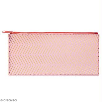 Trousse fantaisie Rico Design - Rose et chevrons dorés - 21 x 10,5 cm