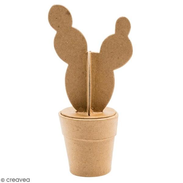Petit cactus boule en papier mâché à décorer - 18 cm - Photo n°1