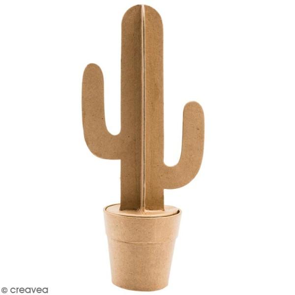 Cactus cierge en papier mâché à décorer - 31 cm - Photo n°1