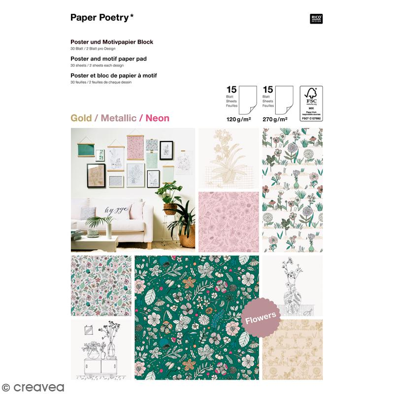 Bloc papier scrap A4 à motif - Gold, metallic & Néon - Hygge fleurs - 30 feuilles - Photo n°1