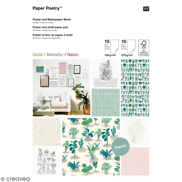 Bloc papier scrap A4 à motif - Gold, metallic & Néon - Hygge plantes et cactus - 30 feuilles - Photo n°1