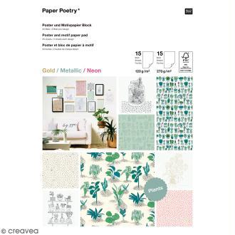 Bloc papier scrap A4 à motif - Gold, metallic & Néon - Hygge plantes et cactus - 30 feuilles