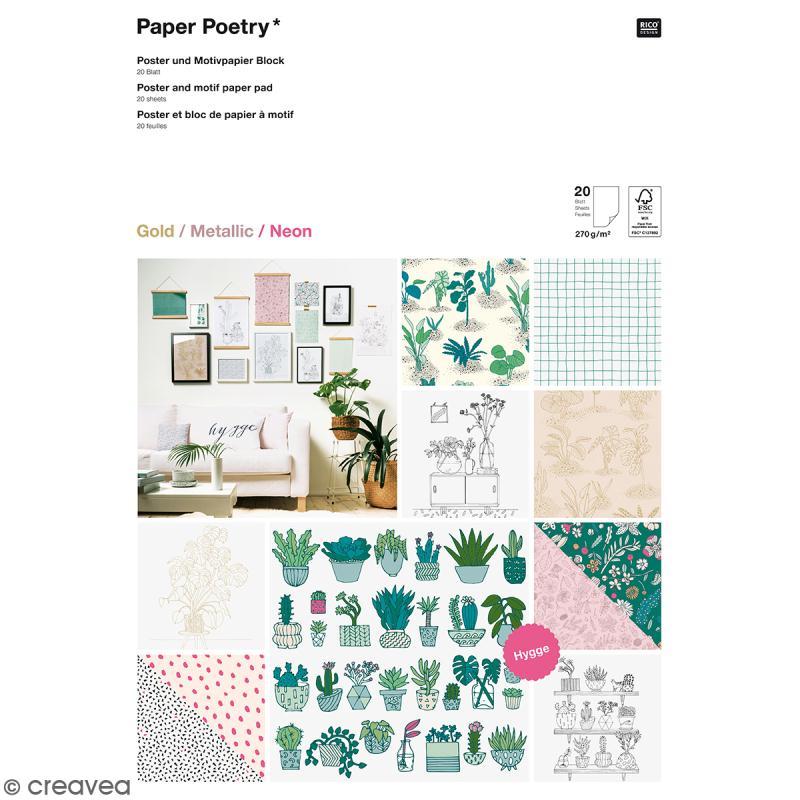 Bloc papier scrap A3 à motif - Gold, metallic & Néon - Hygge plantes et cactus - 20 feuilles - Photo n°1