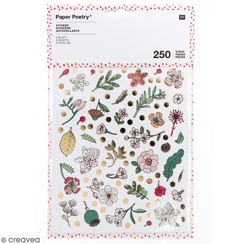 Stickers - Hygge fleurs Brillant et Neon - 250 pcs - Photo n°1