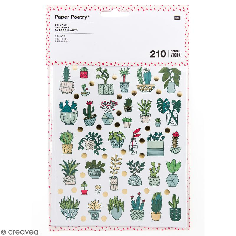 Stickers - Hygge cactus Brillant et Neon - 210 pcs - Photo n°1