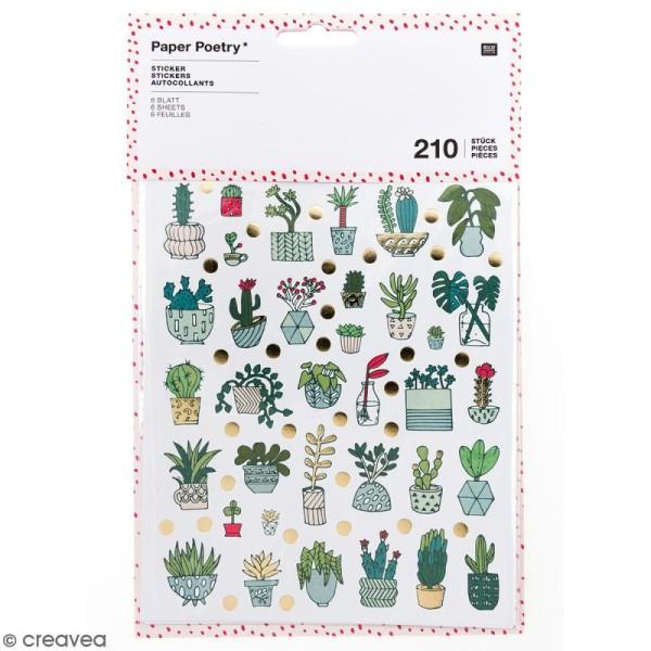 Stickers - Hygge cactus Brillant et Neon - 210 pcs - Photo n°1