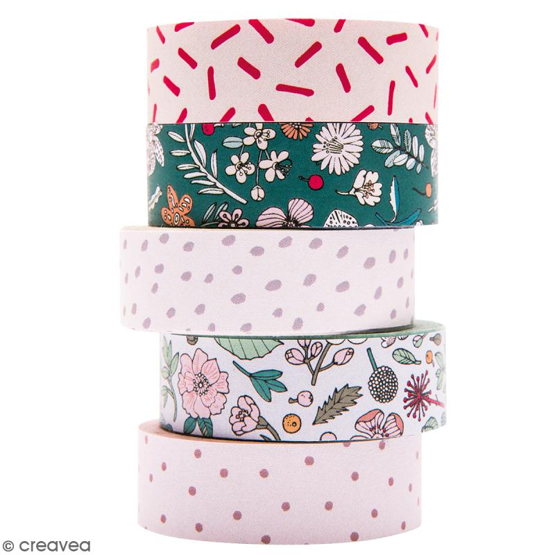 Set de masking tape - Hygge fleurs - 1,5 cm x 10 m - 5 pcs - Photo n°1