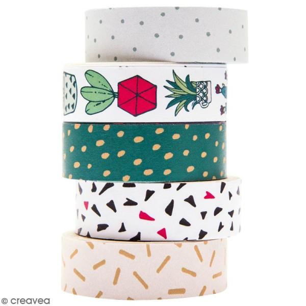 Set de masking tape - Hygge cactus - 1,5 cm x 10 m - 5 pcs - Photo n°1