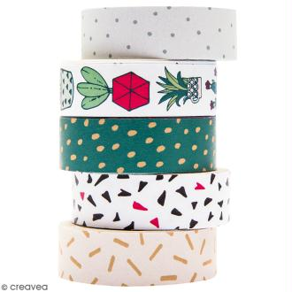 Set de masking tape - Hygge cactus - 1,5 cm x 10 m - 5 pcs