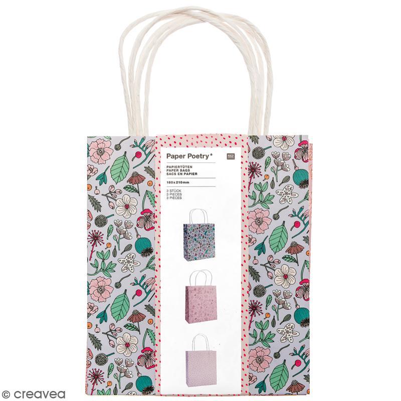 Lot de sacs en papier - Hygge fleurs - 18 x 21 cm - 3 pcs - Photo n°1
