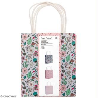 Lot de sacs en papier - Hygge fleurs - 18 x 21 cm - 3 pcs